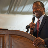 Republican Presidential Nominee Dr. Ben Carson speaks to the crowd during the Eagle Forum's Eagle Council Event at the Marriott St. Louis Airport Hotel on September 11, 2015 in St. Louis, Missouri.