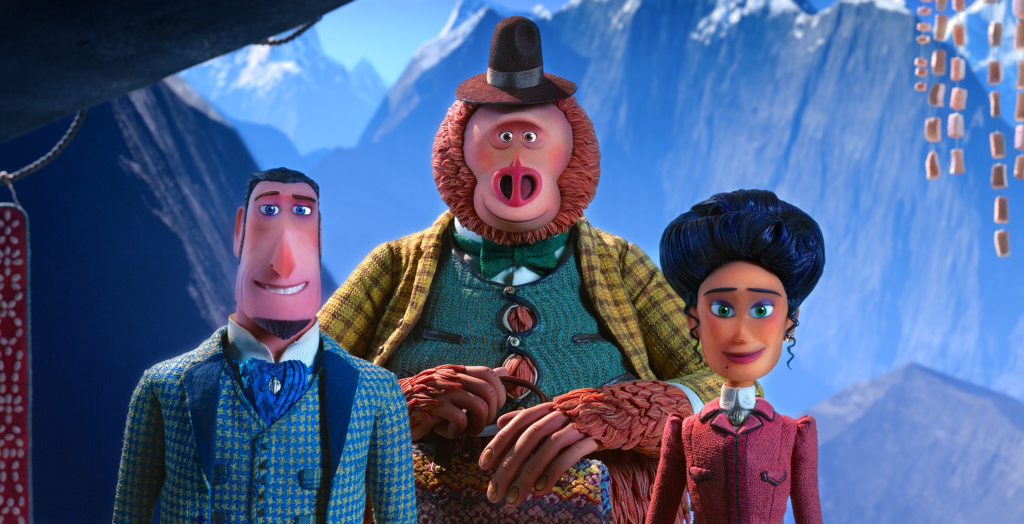 (L to R) Sir Lionel Frost voiced by Hugh Jackman, Mr. Link voiced by Zach Galifianakis and Adelina Fortnight voiced by Zoe Saldana in director Chris Butler's MISSING LINK, a Laika Studios Production and Annapurna Pictures release.