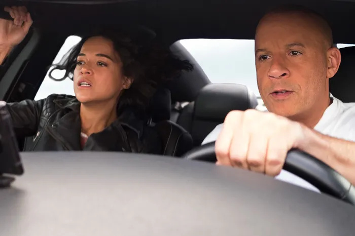 Michelle Rodriguez (L) and Vin Diesel (R) in