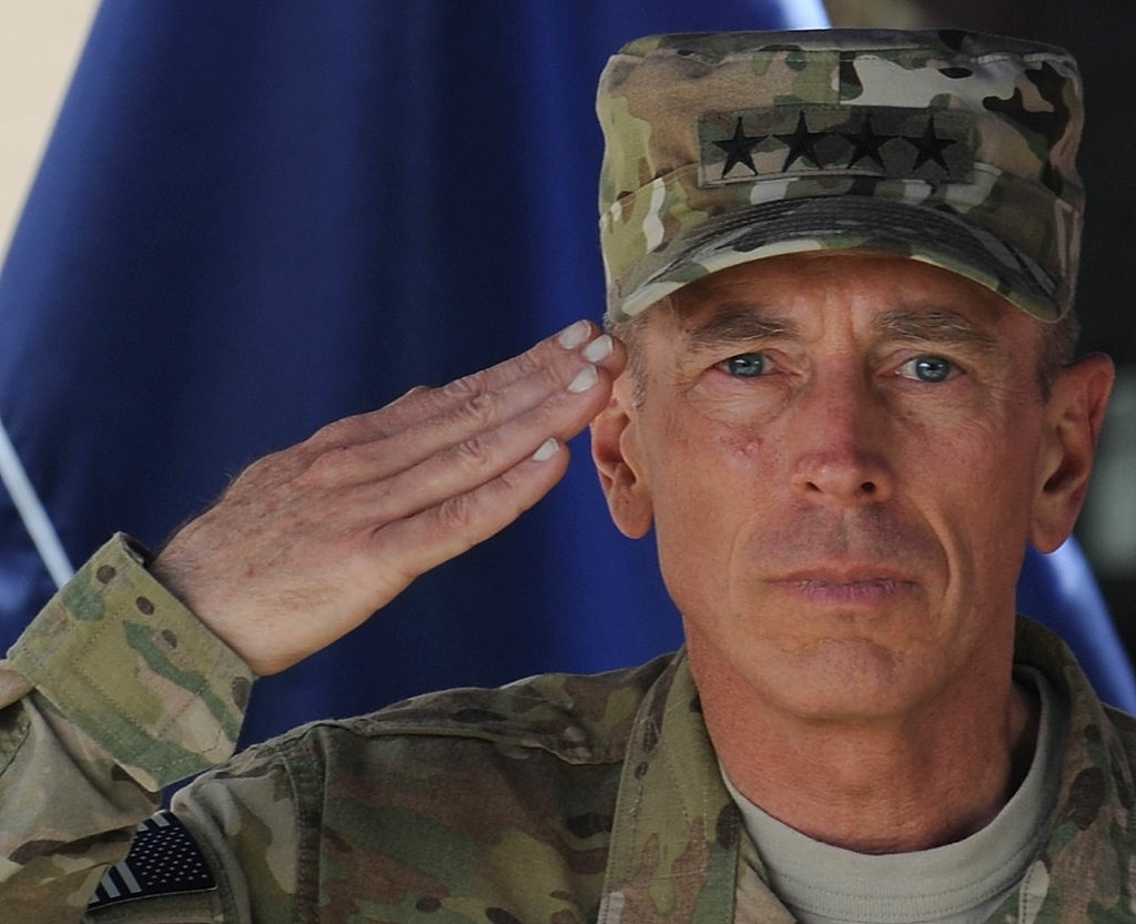 Commander of NATO troops in Afghanistan, US General David Petraeus, salutes during a change of command ceremony at ISAF headquarters in Kabul on July 18, 2011.