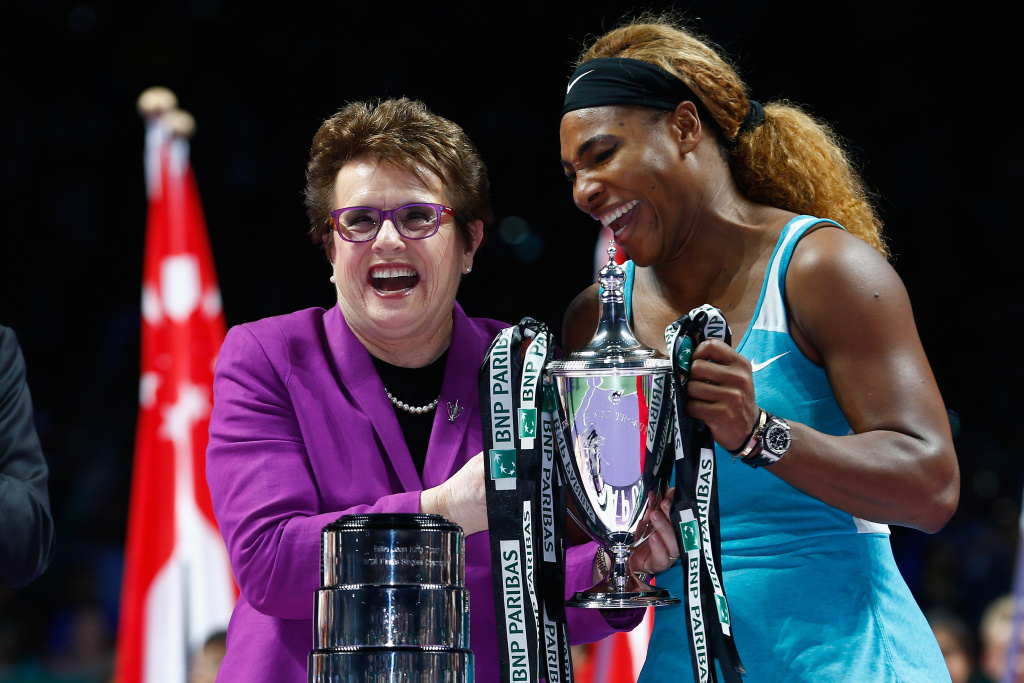 Serena Williams with Billie Jean King after her win over Simona Halep of Romania in the final during day seven of the BNP Paribas WTA Finals tennis at the Singapore Sports Hub on October 26, 2014.