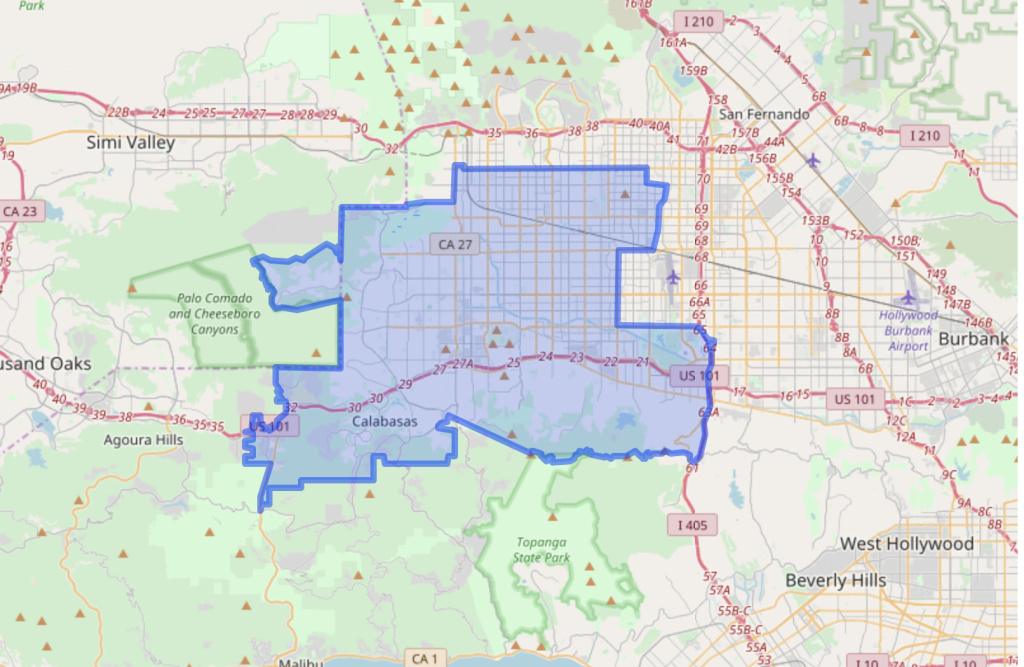 A map of the boundaries of California's State Assembly District 45.
