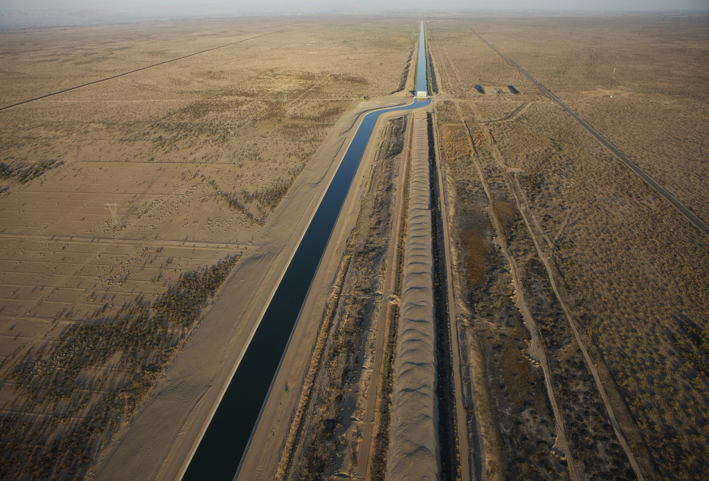 The All American Canal, which carries Colorado River into the Imperial Valley in Southern California. California uses more Colorado River water than any other state.