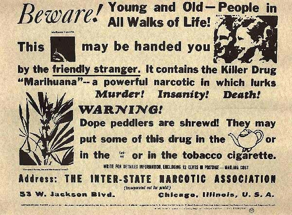 Cannabis propaganda sheet from 1935