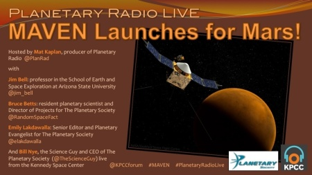 Planetary Radio Live - MAVEN launches for Mars!