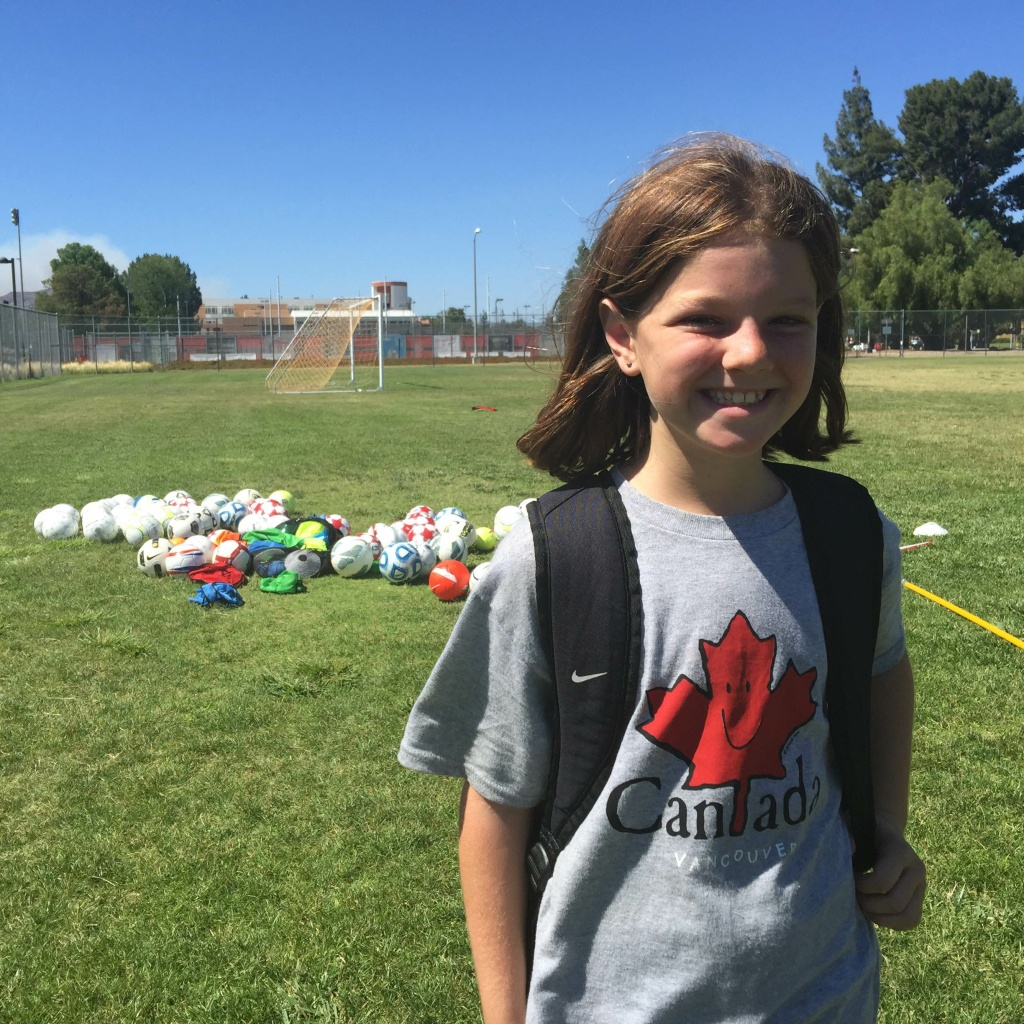Erin Lee proudly sports her Vancouver, Canada T-shirt from the Women's World Cup during soccer camp at Cal State Northridge.