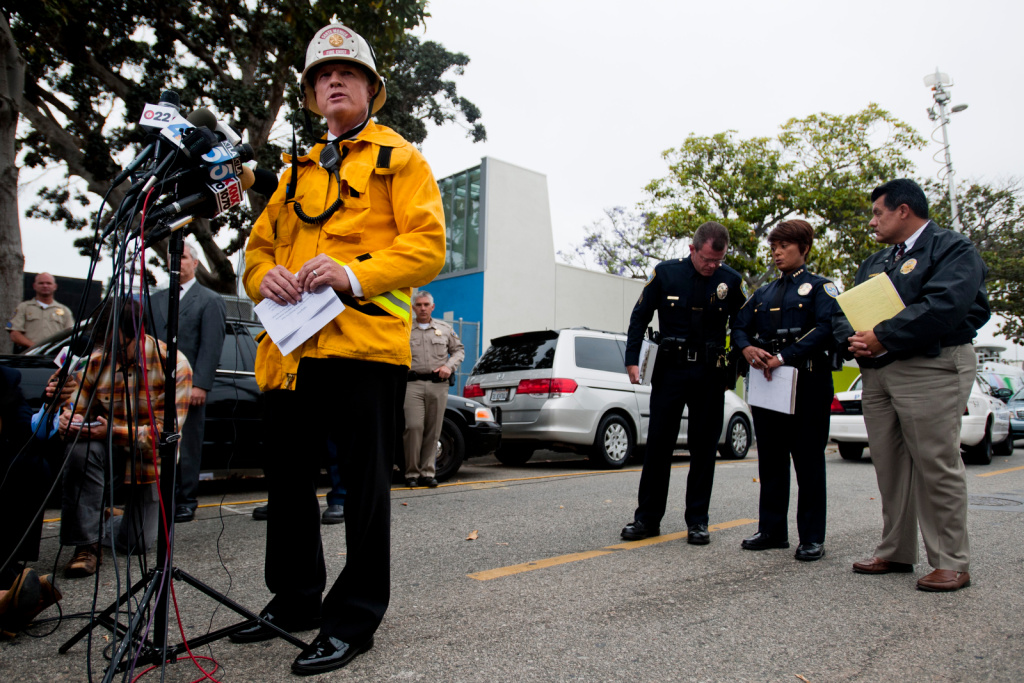 Scott Ferguson of the Santa Monica Fire Department speaks to the media during a press conference about the house fire on Yorkshire.