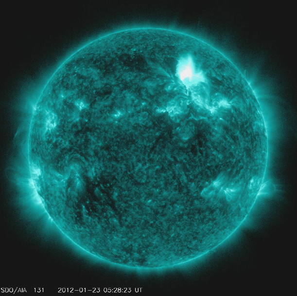 This image from the NOAA/National Weather Service's Space Weather Prediction Center shows the M3.2 solar flare on January 23, 2012. The flare is reportedly the largest since 2005 and is expected to affect GPS systems and other communications when it reaches the Earth's magnetic field in the morning of January 24.