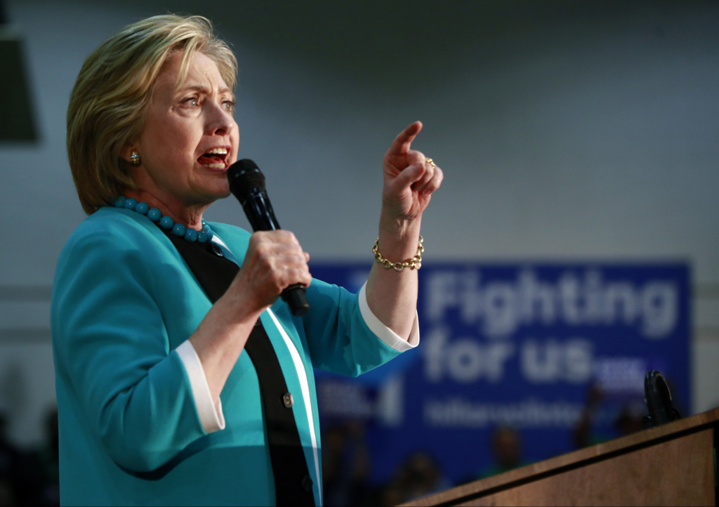 Democratic presidential candidate Hillary Clinton campaigns at East Los Angeles College in Los Angeles, Thursday, May 5, 2016.