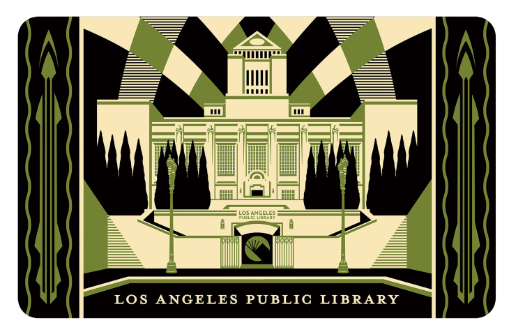 L.A. Mayor Eric Garcetti with artist Shepard Fairey at the unveiling of the city's first artist-designed library card.