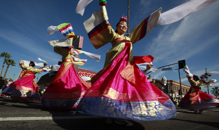 Dancers from the Kim sung hua Korean Dance Academy participate in the Martin Luther King Jr. parade in Los Angeles on Monday Jan. 20, 2014. The 29th annual Kingdom Day Parade honoring Martin Luther King Jr. was themed