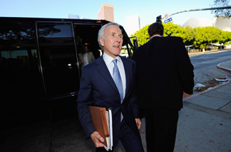 Frank McCourt, owner of the Los Angeles Dodgers, arrives at Los Angeles County Superior Court for day two of a non-jury divorce trial on August 31, 2010 in Los Angeles, California.