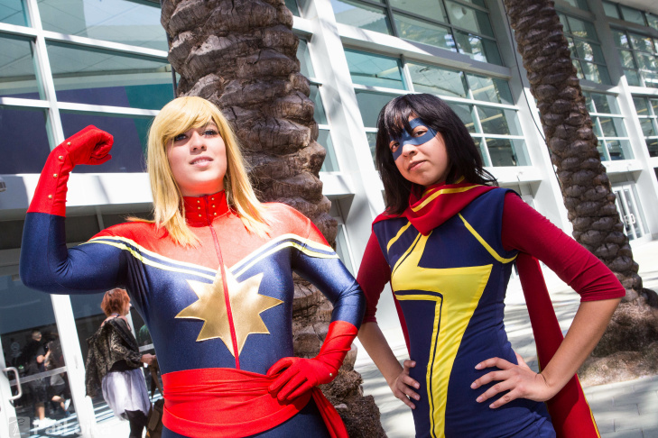 Cosplaying fans gather for a photo outside WonderCon Anaheim 2015.