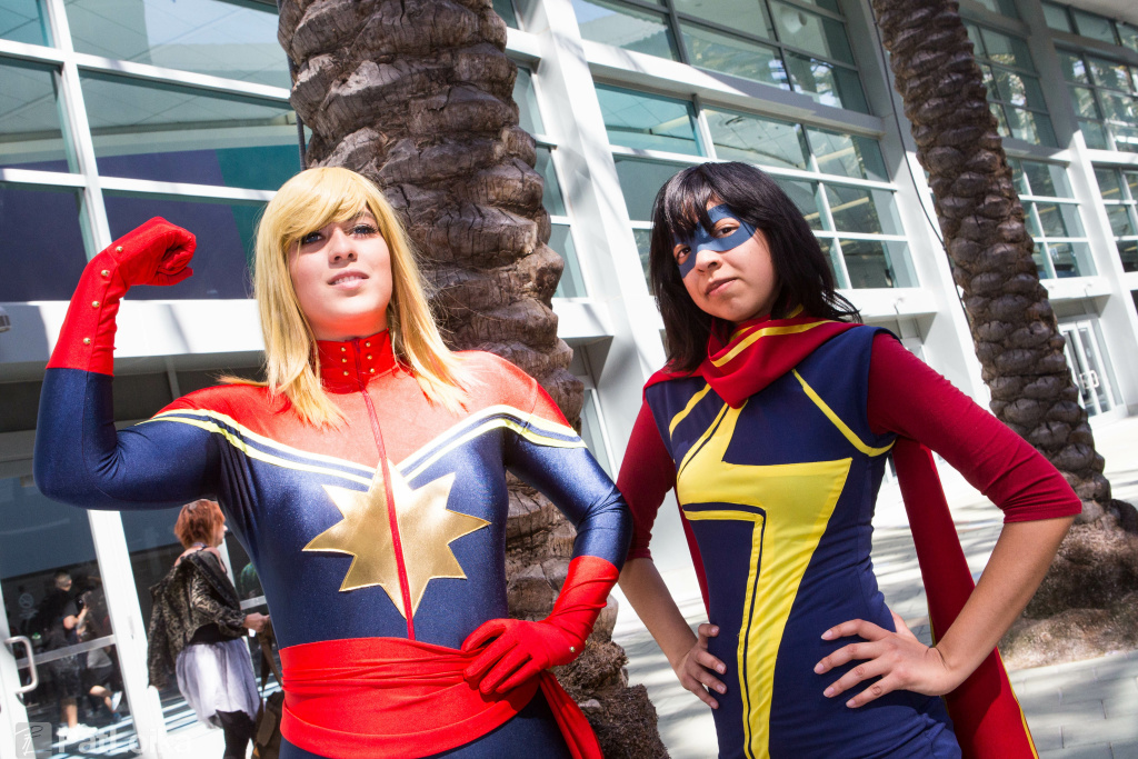 Fans cosplaying as Captain Marvel and Ms. Marvel at WonderCon Anaheim 2015.