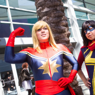 Fans cosplaying as the Marvel version of Captain Marvel, alongside Ms. Marvel, at WonderCon Anaheim 2015.