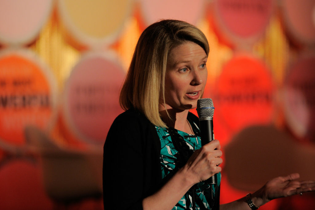 Marissa Mayer speaks onstage at the FORTUNE Most Powerful Women Dinner New York City. The 37-year-old was named CEO of Yahoo today.