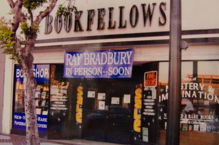 Decorated with a Fahrenheit 451 fire fighter hat along with other memorabilia, the Bradbury shelf has stood out among the bookshelves for quite some time.