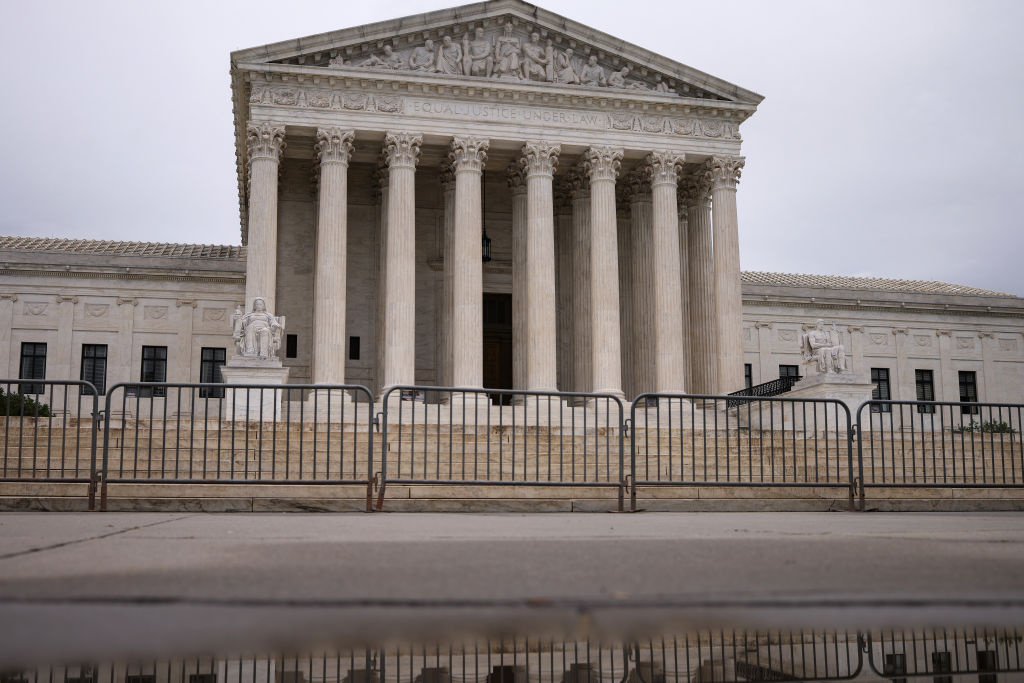 Rain clouds hang above The U.S. Supreme Court building May 24, 2021 in Washington, DC.