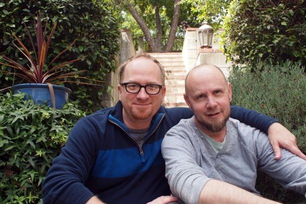 Kai Schmoll (L) with Monty Phillips (R) at their Mt. Washington home in 2011.