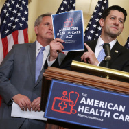 Speaker of the House Paul Ryan (R-WI) (C) during a news conference with House Majority Leader Kevin McCarthy (R-CA) (L) and House Energy and Commerce Committee Chairman Greg Walden (R-OR).