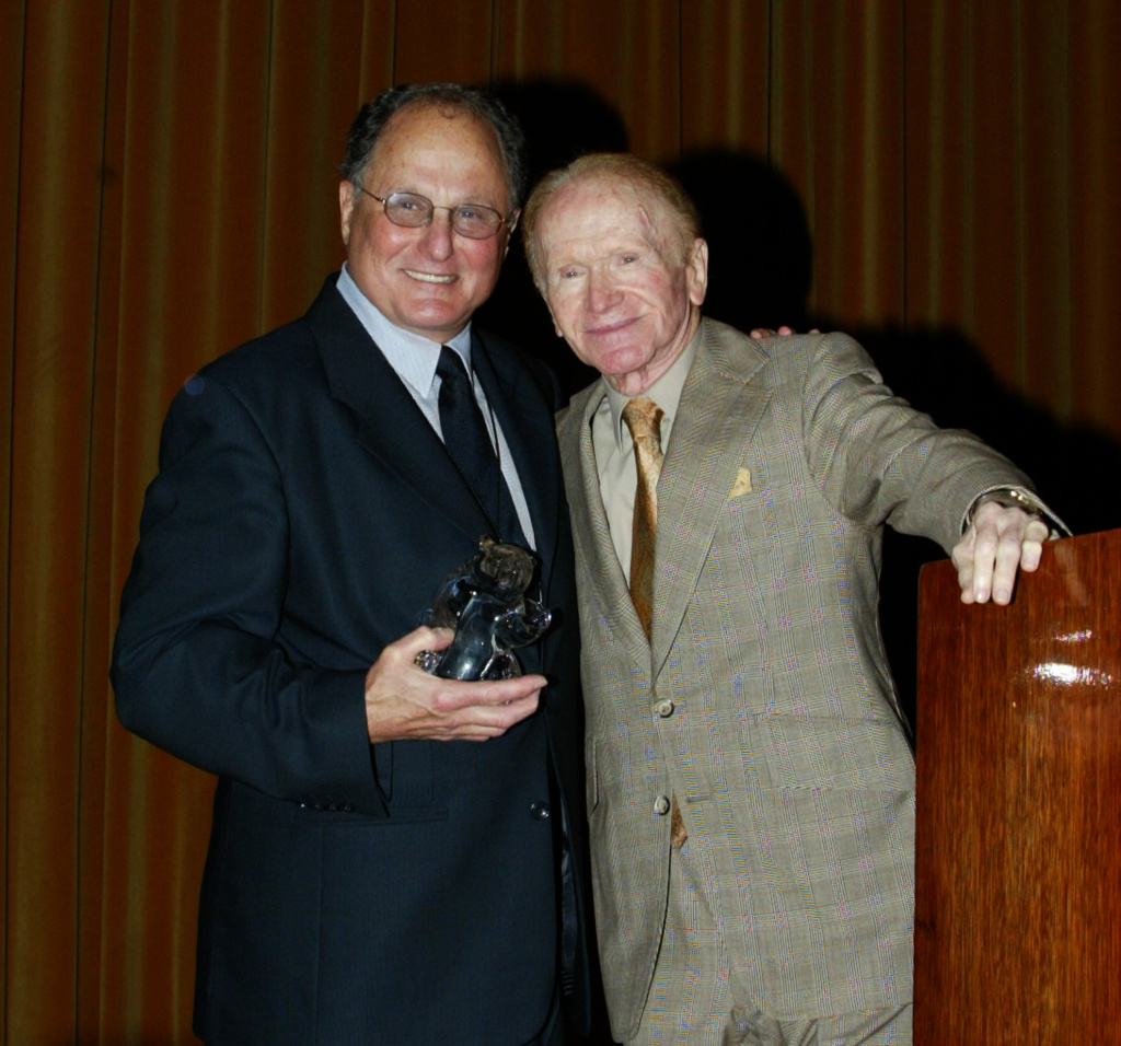 Comedians Budd Friedman and Red Buttons attend the Screen Smart Set Auxiliary of the Motion Picture & Television Fund event on October 8, 2003.
