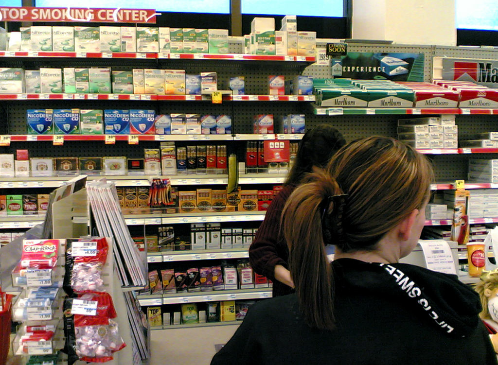 File: Cigarettes stacked at a convenience store. Prop 29, which would have instituted, an additional tobaccao tax, was defeated by a small margin, and supporters are asking for a recount.