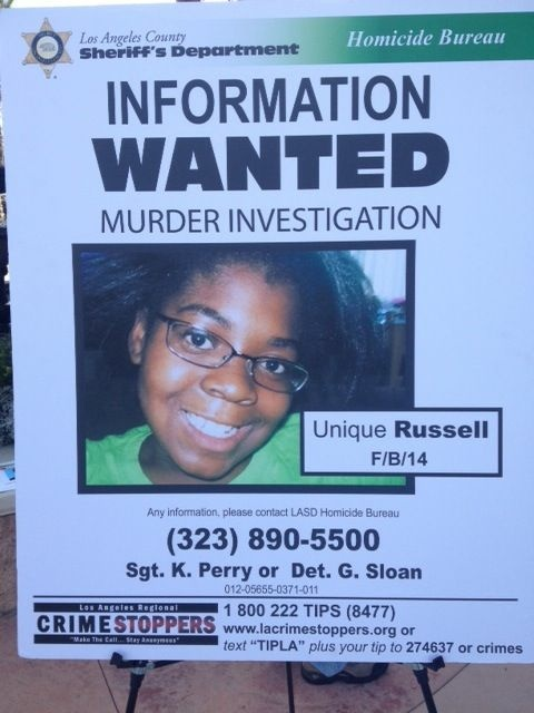 Unique Russell, 14, was fatally shot on July 4 as she watched fireworks in the Westmont neighborhood. The L.A. County Board of Supervisors has posted another $10,000 reward for information that leads to the arrest of a second suspect in her shooting.
