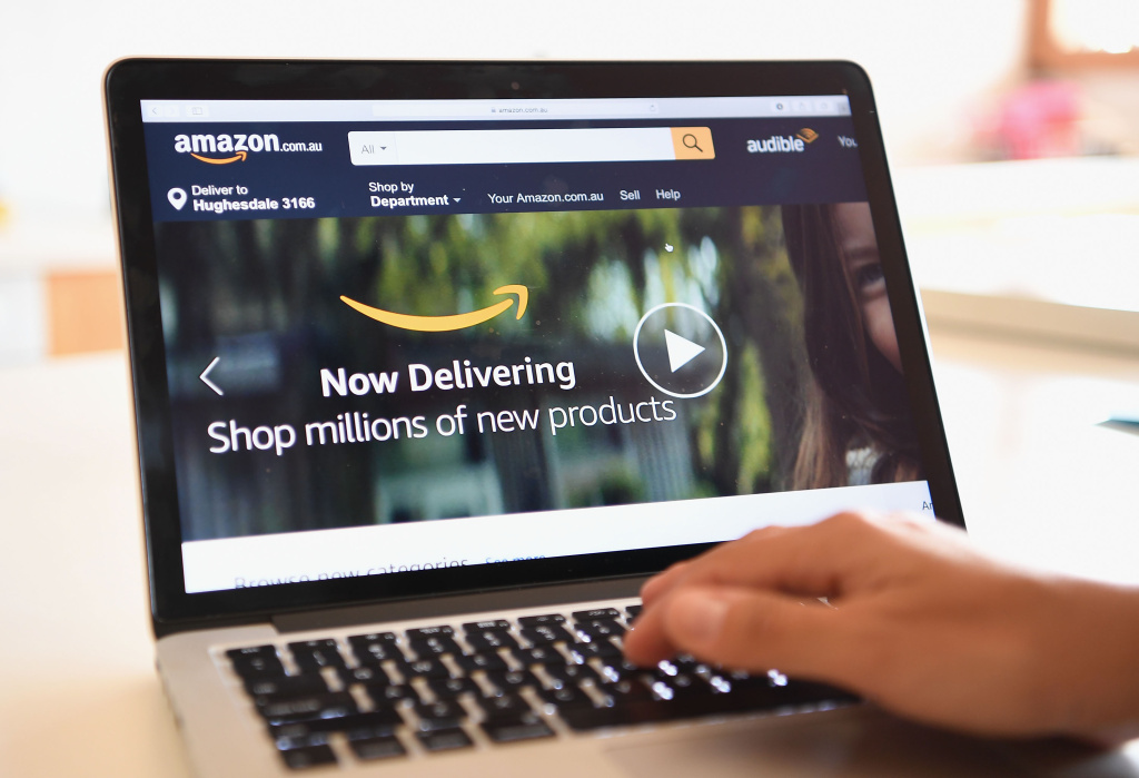 The Amazon website is seen on December 5, 2017 in Dandenong, Australia.
