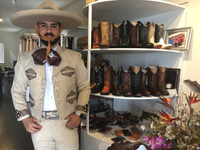 Francisco Galvez in a full Charro suit and hat.