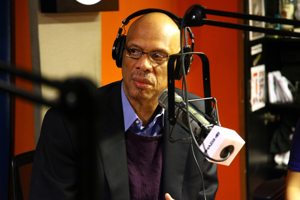 Former LA Laker Kareem Abdul-Jabbar at the SiriusXM Studios in NYC in February 2012 (Photo by Neilson Barnard/Getty Images)