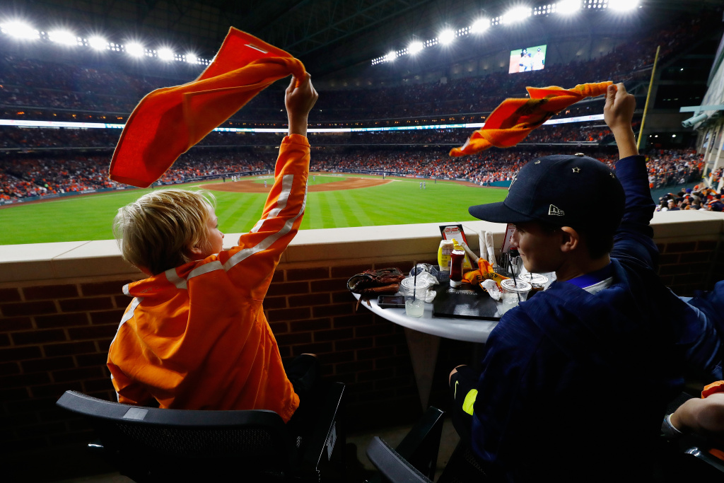 Houston Astros fans wave orange towels during Game 3 of the 2017 World Series against the Los Angeles Dodgers on October 27, 2017 in Houston, Texas.