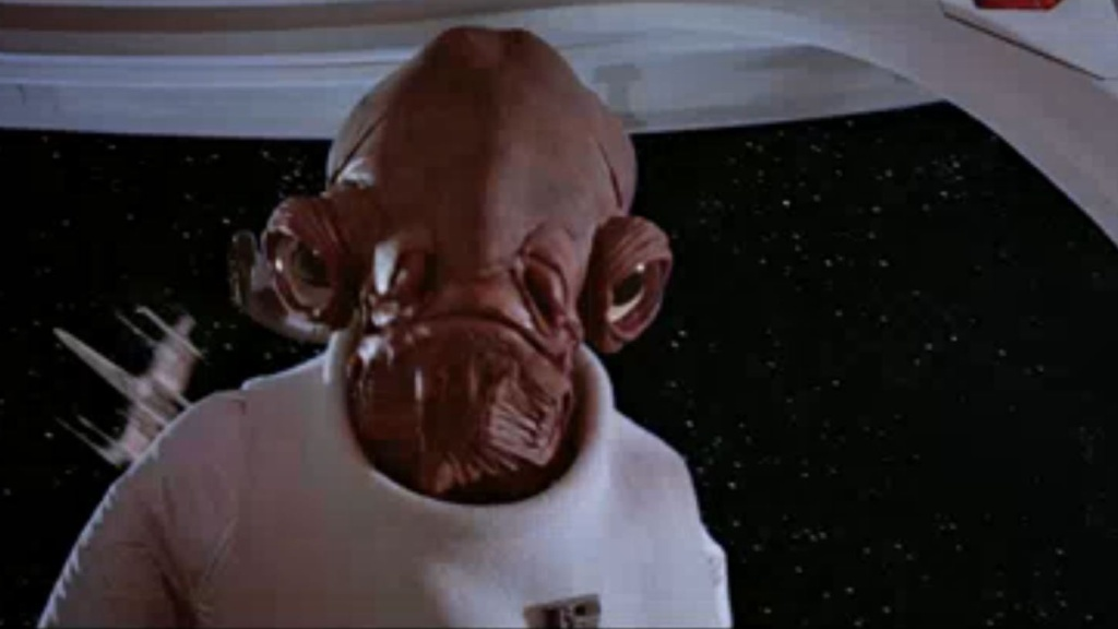 Admiral Ackbar pauses before delivering his immortal line:
