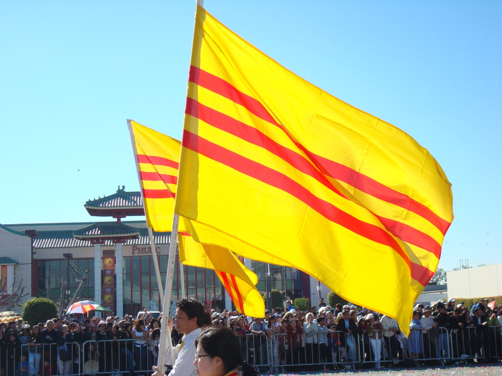 FILE: Vietnamese flags wave in Orange County's Little Saigon. Some longtime Vietnamese immigrants, including Orange County residents, were arrested by immigration officials last year and remain detained awaiting deportation, although Vietnam limits the deportees it takes back.