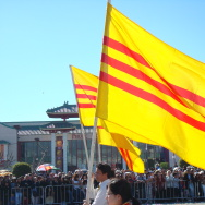 Historical South Vietnamese flags wave in Orange County's Little Saigon. High turnout by Vietnamese American voters could help decide a tight county supervisor race.