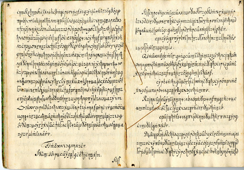 This image provided by the University of Southern California shows a copy of the Copiale Cipher. Scientists in California and Sweden said they have used computer translation techniques to solve a 250-year-old mystery by deciphering this coded manuscript, the Copiale Cipher, written for a secret society.