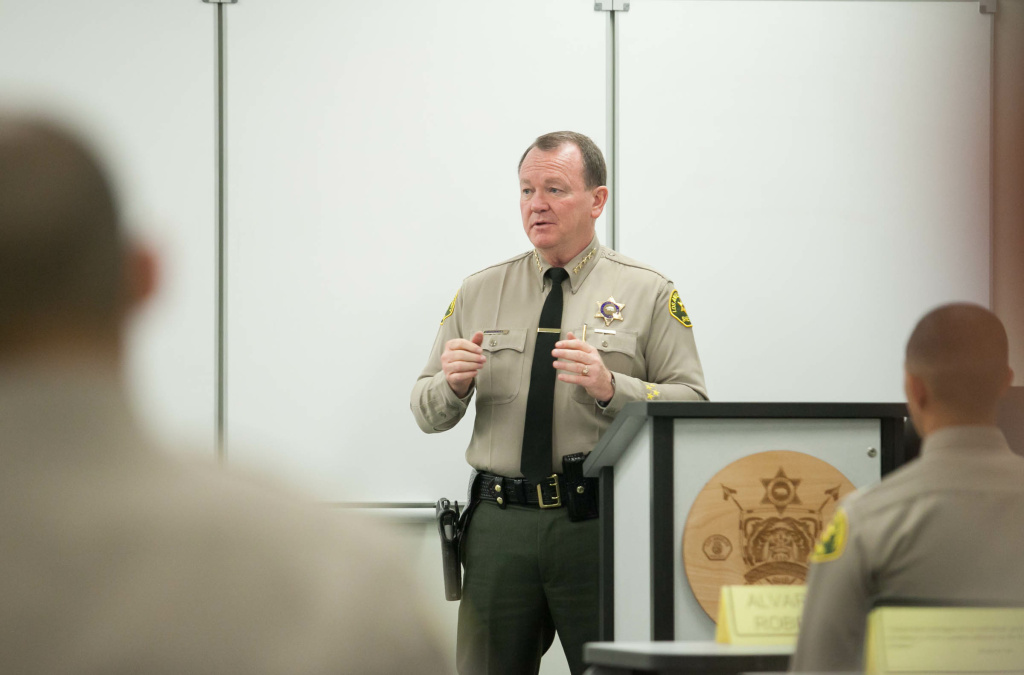 LA Sheriff Jim McDonnell addressing recruits at the Biscailuz Training Academy in Los Angeles, Calif. on Thursday, May 3, 2018.