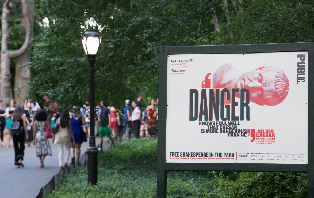 People arrive for the opening night of Shakespeare in the Park's production of Julius Caesar at Central Park's Delacorte Theater on June 12, 2017 in New York.