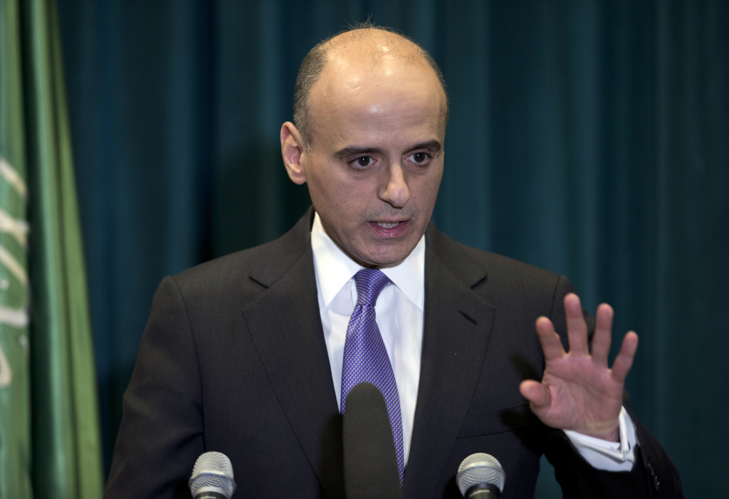 Saudi Arabian Ambassador to the United States Adel Al-Jubeir speaks during a news conference at the Royal Embassy of Saudi Arabia in Washington, Wednesday. Al-Jubeir says his country began airstrikes against the Houthi rebels in Yemen, who drove out the U.S.-backed Yemeni president.