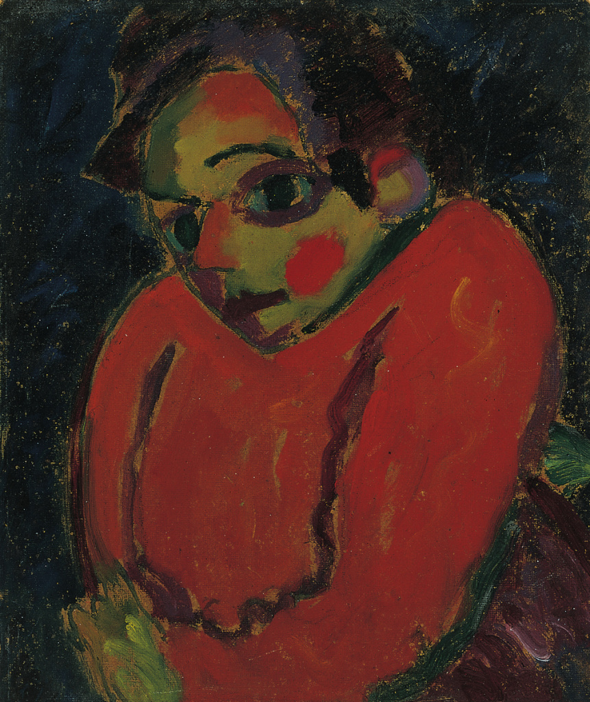 Hunchback, 1917; Alexei Jawlensky (Russian, 1864-1941); Oil and pencil on textured cardboard