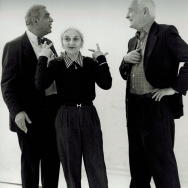 This undated publicity photo provided by Merchant Ivory Productions shows Oscar-winning screenwriter and award-winning novelist Ruth Prawer Jhabvala (center) with film director and producer Ismail Merchant (left) and director James Ivory in a studio. Jhab