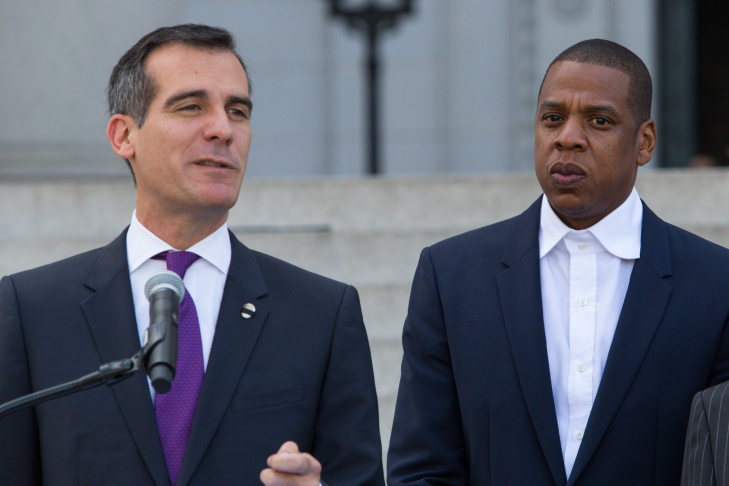 Mayor Eric Garcetti, left, and Shawn