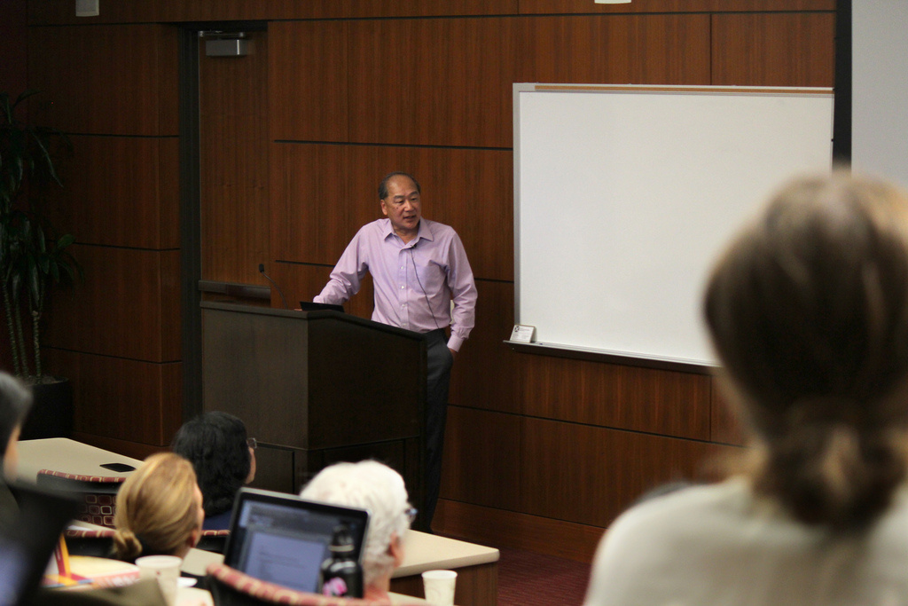 University of Washington sociologist David Takeuchi, giving his speech at USC's Immigrant Health Initiative,