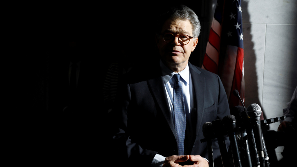Sen. Al Franken addresses the media outside his office on Capitol Hill.