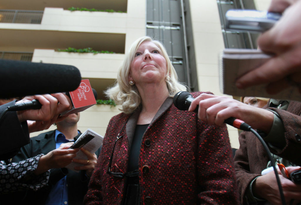 Molly Munger, a wealthy civil rights attorney and primary advocate behind Proposition 38 on the California ballot, meets with reporters in Sacramento, Calif.  Munger, the daughter of wealthy investor Charles Munger Sr., is on the opposite side of the political isle as her half brother, Charles Munger Jr.  who is major donor behind Proposition 32, which limits campaign contributions from unions. Both Mungers have spent millions in this election year to transform California's political landscape.