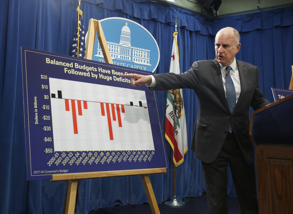 California Gov. Jerry Brown gestures to a chart showing that budget deficits usually follow balanced state budgets as he discusses his 2017-2018 spending plan at a news conference Tuesday, Jan. 10, 2017, in Sacramento, California.