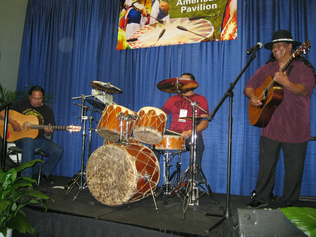 Tracy Lee Nelson (right) and the Native Blues jam on stage at the Native American Pavilion at the recent NAMM show in Anaheim.