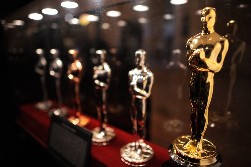 The Oscar Statue production display at the Meet the Oscar Exhibit at Grand Central Terminal in New York City.