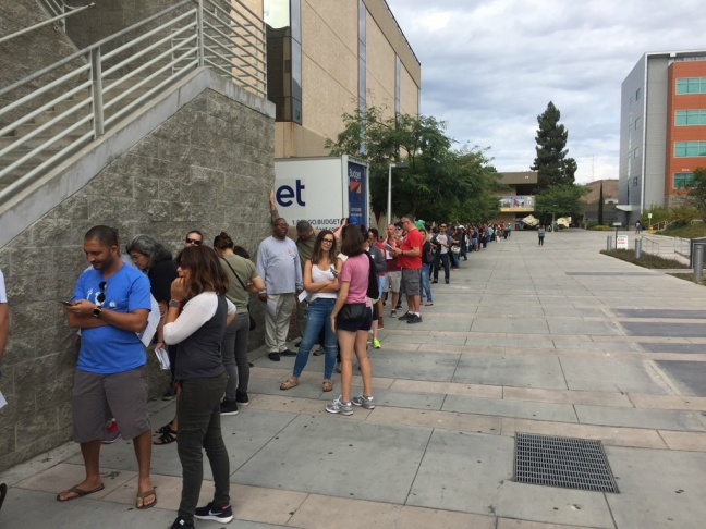 Early voters line up outside West LA College in Culver City on Saturday, October 29, 2016.