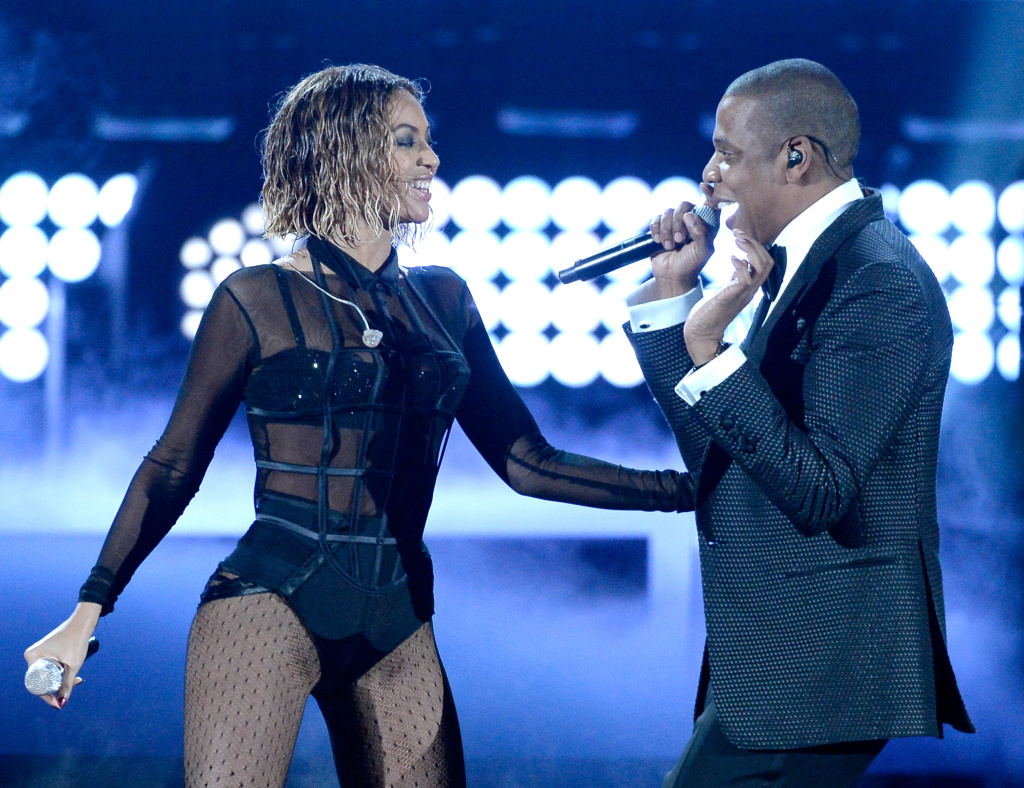 Singer Beyonce and rapper Jay Z perform onstage during the 56th GRAMMY Awards at Staples Center on January 26, 2014 in Los Angeles, California.