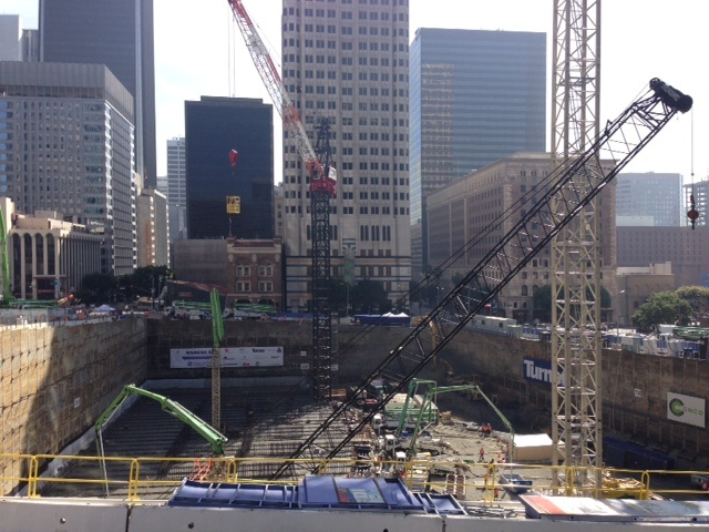 Workers at the site of the future Wilshire Grand tower set a world record for largest concrete pour in history on Sunday, Feb. 16, 2014.